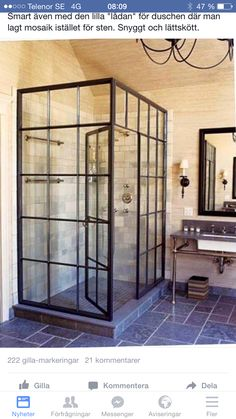 """""""Factory window shower"""" people think a lot of cool stuff. Bad Inspiration, Bathroom Inspiration, Bathroom Ideas, Bathroom Renovations, Bathroom Designs, Remodel Bathroom, Deco Design, Beautiful Bathrooms, Small Bathrooms"""