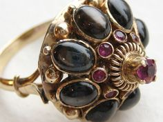 10Kt. /14 Kt  Vintage Black Star Sapphire and Ruby Thai  Princess Ring..
