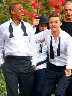 Under the 'brella ... Jay-Z and Justin Timberlake