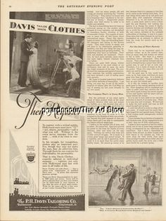 1929 Movie Stars Evelyn Brent~David Newell Davis Tailoring Co Cincinnati OH Ad