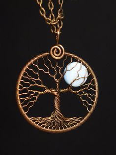 Tree of life pendant Full moon necklace Copper and Mother of Pearl Shell round copper pendant Blue moon pendant Universal gift for her Tree Of Life Jewelry, Tree Of Life Pendant, Wire Wrapped Pendant, Wire Wrapped Jewelry, Copper Jewelry, Wire Jewelry, Wire Earrings, Copper Wire, Etsy Jewelry