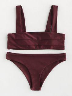 Shop Double Wide Strap Seam Detail Bikini Set online. SheIn offers Double Wide Strap Seam Detail Bikini Set & more to fit your fashionable needs.