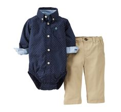 Carter's® Roll-Cuff-Sleeve Bodysuit and Pants Set – Boys newborn-24m