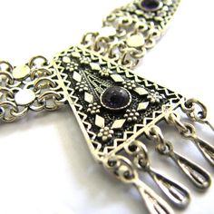 Ethnic Necklace Filigree Chandelier Sterling silver by adiaart