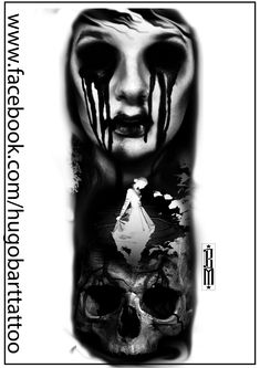 zombie skull woman face scarry digital tatoo design blood black and grey
