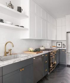 Like This Except Would Do Grey Cabinet Bases Kitchen Ideas - Grey lower kitchen cabinets
