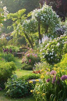 Diy Garden, Garden Cottage, Dream Garden, Shade Garden, Garden Beds, Spring Garden, Garden Shrubs, Garden Gates, Garden Loppers