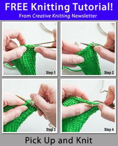 Free Knitting Tutorial from Creative Knitting newsletter: Pick Up and Knit by Tabetha Hedrick. Click on the photo to access the tutorial. Sign up for this free newsletter here: www.AnniesNewsletters.com.