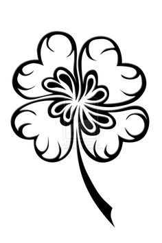 four leaf clover tattoos - Bing Images Four Leaf Clover Tattoo, Clover Tattoos, Shamrock Tattoos, Pyrography Patterns, Flower Silhouette, Tattoo Zeichnungen, 4 Leaves, Celtic Tattoos, Symbols Tattoos