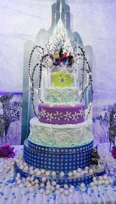Incredible cake at a Frozen birthday party! See more party planning ideas at CatchMyParty.com!