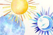 Watercolor Sun, moon and stars - Illustrations - 3