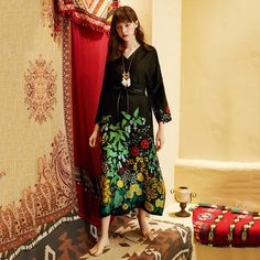 Black Women V-Neck Flower Printed Casual Loose Maxi Long Sleeve Dress Bohemia Dress, Travel Dress, Short Sleeve Dresses, Long Sleeve, Holiday Dresses, Types Of Sleeves, Black Women, Trending Outfits, 120 Lbs