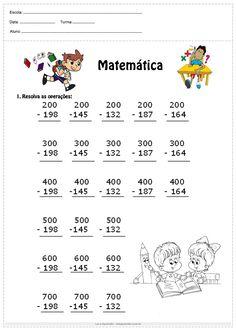 Atividade de matemática 4°ano resolva as subtrações 2nd Grade Math Worksheets, English Grammar Worksheets, First Grade Math, Preschool Math, Math Activities, Math Addition, English Activities, Math Facts, Math For Kids