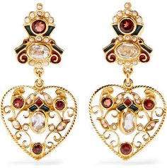 Percossi Papi - Gold-plated And Enamel Multi-stone Earrings