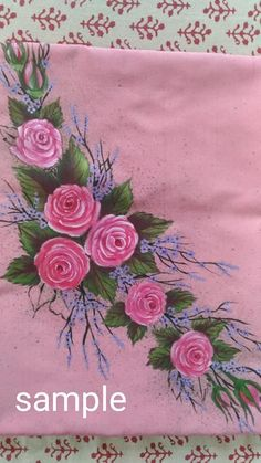 Fabric Colour Painting, Fabric Painting On Clothes, Dress Painting, Painted Clothes, Fabric Art, Floral Embroidery Patterns, Embroidery Suits, Hand Embroidery, Saree Painting Designs