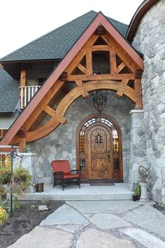 House entrance exterior timber frames New Ideas Porch Wall Design, Cottage Door, Timber Frame Homes, Timber Frames, House Entrance, House Front, Log Homes, Home Fashion, Architecture Details