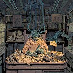 The Fixer by Josan Gonzalez on ArtStation. Cyberpunk 2020, Art Inspiration Drawing, Environment Concept Art, Environmental Art, Graphic Design Illustration, Art Reference, Cool Art, Character Design, Anime