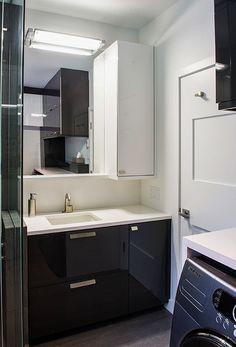 Petite salle d\'eau moderne avec un mobilier suspendu pour plus de ...