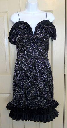 Nina Ricci Haute Boutique Celia Dress black silk silver lace ruffle sheath sz 12 #NinaRicci #Sheath