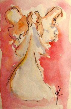 Angel Painting Original Watercolor