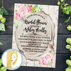 Rustic Bridal Shower Invitation // Rustic Invitation // Rustic Country Bridal Shower Invitation // Hydrangea Bridal Shower Invitation // Bohemian Bridal Shower Invitation // Boho Bridal Shower Invitation // Wood Slice Bridal Shower Invitation // Pink Green Bridal Shower Invitation // Watercolor Bridal Shower Invitation by socalcrafty on Etsy. Printed on card stock or printable invitations. $16+