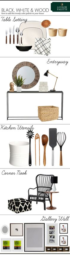 Fall 2013 Color Palette Trend: Black White & Wood | www.theanatomyofdesign.com