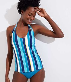 c1c37cf7be Shop LOFT for stylish women's clothing. You'll love our irresistible LOFT  Beach Striped Knotted Halter Tankini Top - shop LOFT.com today!