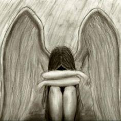 Crying Angel 2 -remake- by NotAloneWishingIWas on DeviantArt Crying Girl Drawing, Cry Drawing, Drawing Sketches, Painting & Drawing, Drawing Rain, Sketching, Angel Sketch, Angel Drawing, Wings Sketch
