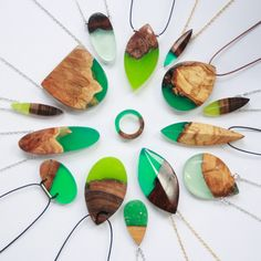 Wood Jewels Fused with Resin