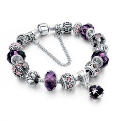 925 Sterling Silver DIY Charm Beads Fits Pandora Bracelet Femme With Murano Glass&Crystal Beads Pulseras Jewelry Charms Pandora, Pandora Jewelry, Silver Charm Bracelet, Silver Charms, Handmade Bracelets, Bangle Bracelets, Bracelet Charms, Pandora Bangle Bracelet, Ladies Bracelet