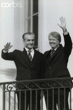 Shah Mohammed Reza Pahlavi of Iran and United States President Jimmy Carter wave to supporters during a state visit. Nov 15 1977