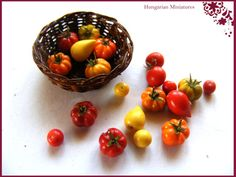 Basket of heirloom tomatoes by hungarianminiatures on Etsy