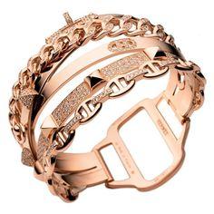 ♥ Hermès multiple chain cuff bracelet.