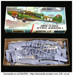 Vintage Airfix Avro Anson 1 Kit. Type 3 / Red Stripe Box Kit. 1/72 Scale. Produced c. 1963-1973.