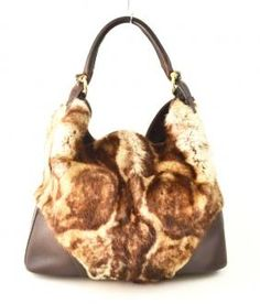 gucci fur tan purse