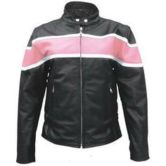 International Biker Mall  - Two tone Pink on Black Ladies Leather Biker Jacket, $117.95 (http://www.internationalbikermall.com/products/Two-tone-Pink-on-Black-Ladies-Leather-Biker-Jacket.html)