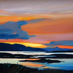 Contemporary art by artist Pam Carter on view at Mixed Winter Exhibition, Gallery Heinzel, Aberdeen Watercolor Landscape Paintings, Landscape Artwork, Seascape Paintings, Art Sur Toile, Seaside Art, Sky Art, Tropical Art, Art And Architecture, Painting Inspiration