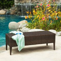 Hobbes Outdoor Multibrown Wicker Bench
