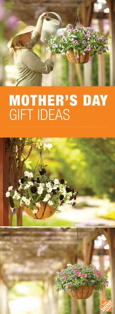 Mother's Day gift idea: Plant her favorite flowers in a coco-lined hanging basket. She'll be thrilled. Check out 9 more last minute Mother's Day gift ideas at The Home Depot's Garden Club. Mothers Day Crafts, Happy Mothers Day, Fathers Day Gifts, Gifts For Mom, Mom Day, Garden Gifts, Mother And Father, Creative Gifts, Craft Gifts