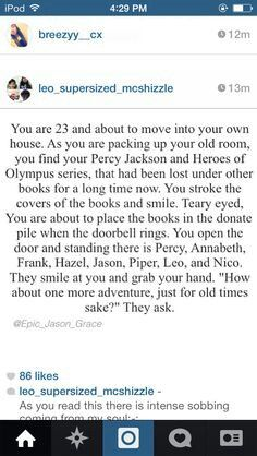 THIS^<---The only difference between this person and me is that I would never even consider putting my PJO and HoO books in the donation box.<<<< Same here <<< So true I would never donate my PJO or HOO books<<<<<<< PLEASE LET THIS HAPPEN Percy Jackson Memes, Percy Jackson Books, Percy Jackson Fandom, Tio Rick, Uncle Rick, Solangelo, Percabeth, Fangirl, Rick Riordan Books
