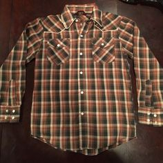 Vintage western plaid shirt Size 10 but more like a small. Snap button front closure. Tops Button Down Shirts