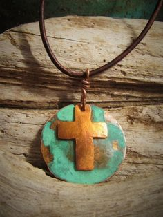 Copper Jewelry Cross Pendant Prayer for Peace on by Gasquetgirl