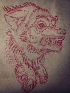 Эскиз злого волка с черепами на шее