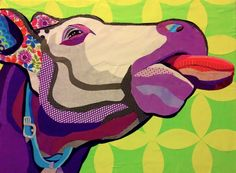 """Cut paper collage """"Cowlick"""" 24""""x32"""" by Laura Yager.  Cow art, abstract animal art, colorful cow art, funny cow art"""