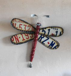 Texas & Oklahoma License Plate Dragonfly by Repurposedlifeokla, $38.00