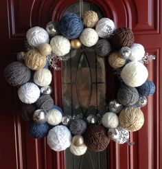 Winter Wreath: Foam wreath, wrapped in fabric. Foam craft balls, wrapped in yarn. Matching ornaments & accents. Use hot glue gun to apply.
