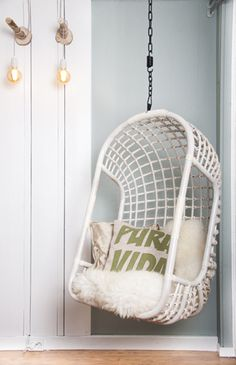 Yes love the idea of a hanging chair - found this one on Etsy much cheaper than the Serena and Lilly version! Hanging Chair Rattan White by Moodadventures on Etsy My New Room, My Room, Girls Bedroom, Bedroom Decor, Deco Design, Home And Deco, Home Living Room, Hanging Chair, Hammock Chair