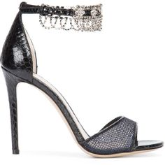 Monique Lhuillier crystal embellished sandals (£765) ❤ liked on Polyvore featuring shoes, sandals, black, monique lhuillier, black leather shoes, kohl shoes, black leather sandals and monique lhuillier shoes