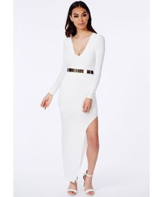 Leonora Belted Slinky Maxi Dress - Dresses - Maxi Dresses - Missguided