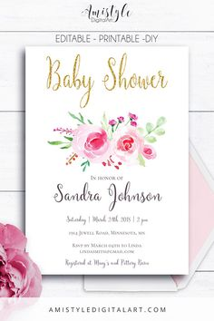 ItS A Girl Baby Shower Invitation With Watercolor Pink Roses